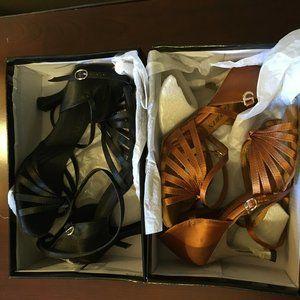 Ballroom Heels Black Size 6.5 & Tan Size 6